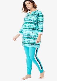 Notch Neck Fleece High-Low Sweatshirt by Dreams & Co.®, AQUAMARINE TIE DYE