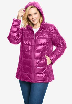 Packable Puffer Jacket, RASPBERRY