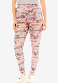 Cozy knit leggings, PINK GREY CAMO, hi-res