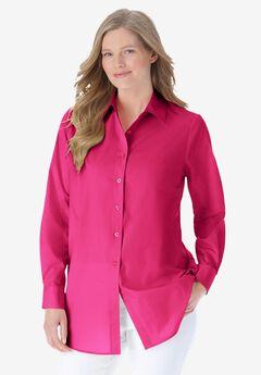 Perfect Long-Sleeve Button Down Shirt, RASPBERRY SORBET