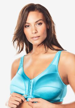 Front-Close Satin Wireless Bra by Comfort Choice®, VIBRANT TURQ