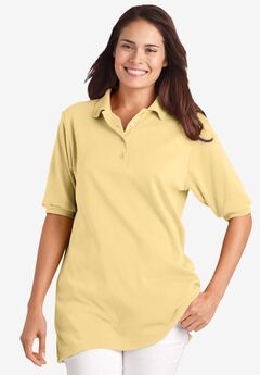 Elbow-Sleeve Polo Shirt, BANANA
