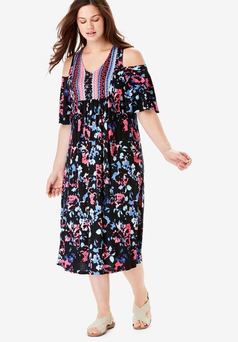Cutout Shoulder V-Neck Dress by Chelsea Studio®
