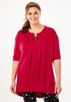 High-low lace-up sweatshirt by fullbeauty SPORT®,