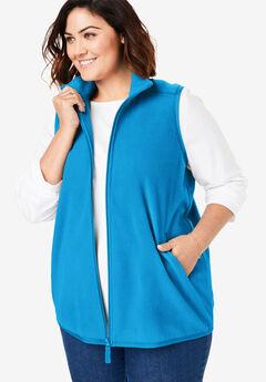 Zip-Front Microfleece Vest, VIBRANT BLUE
