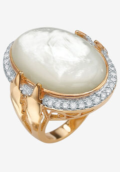 Gold-Plated Oval Mother of Pearl and CZ Ring,