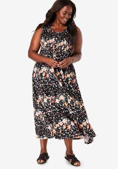 Pintucked Floral Sleeveless Dress, BLACK FRESH FLORAL