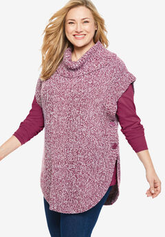 Marled Knit Cowl Neck Poncho,