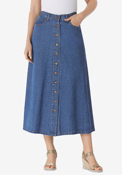 Button Front Long Denim Skirt,