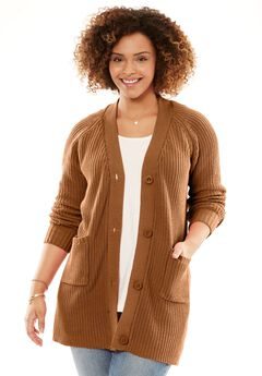 Long sleeve Button-Front Cardigan, GINGER