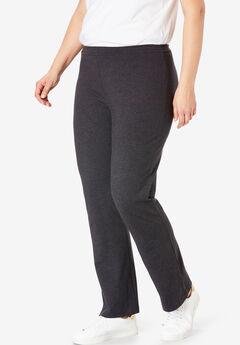 Stretch Cotton Bootcut Yoga Pant, HEATHER CHARCOAL