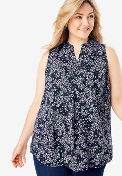 ecd75217172 Sleeveless Tab-Front Shirt