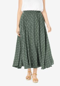 Pull-On Elastic Waist Soft Maxi Skirt,