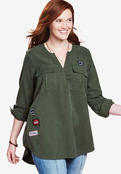 Utility Patch Tunic by Chelsea Studio®, FOREST NIGHT, hi-res