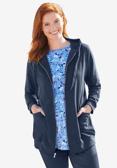 Zip front tunic hoodie, NAVY, hi-res