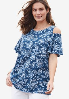 Short sleeve cold shoulder tee,