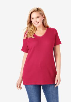 Crochet-Trim Thermal Tee, CRYSTAL BERRY