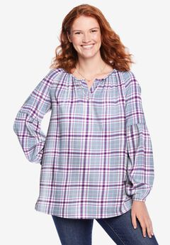 Split Neck Flannel Blouse,