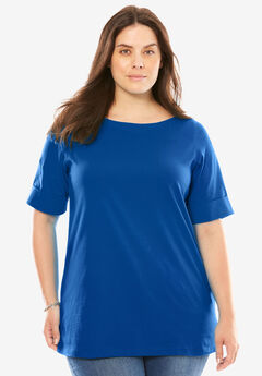 Perfect Boatneck Tee with Cuffed Sleeves, DARK SAPPHIRE, hi-res