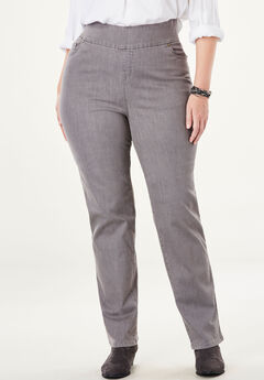 Straight Leg Smooth Waist Jean, GREY DENIM