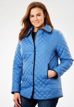 Light quilted snap-front jacket, DUSTY INDIGO