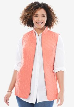 Diamond-Quilted Zip Front Vest, DUSTY CORAL