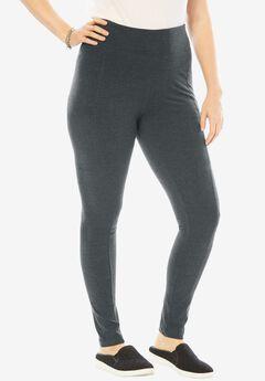 Stretch Cotton Side Pocket Legging, HEATHER CHARCOAL, hi-res