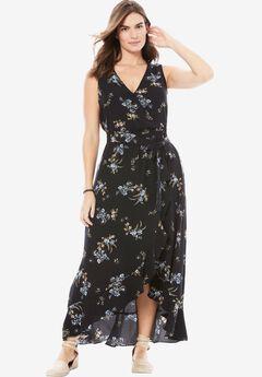 Ruffle Maxi Dress by Chelsea Studio®, BLACK WHISPER FLORAL, hi-res