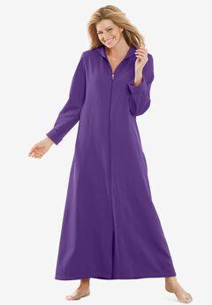 Hooded Fleece Robe , PLUM BURST