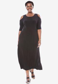 Cold-shoulder A-line maxi dress, BLACK, hi-res