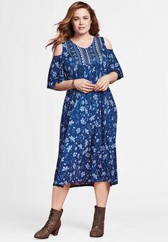 Cutout Shoulder V-Neck Dress by Chelsea Studio®, BLUE MIXED PRINT, hi-res