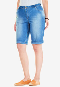 Stretch Jean Bermuda Short, LIGHT STONEWASH SANDED