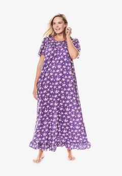 Long Floral Print Cotton Gown by Dreams & Co.®,