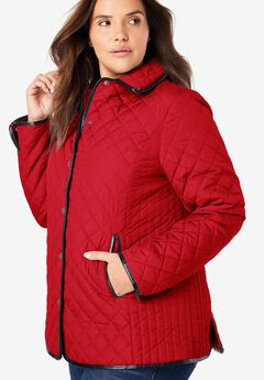 Quilted Snap-Front Jacket, VIVID RED