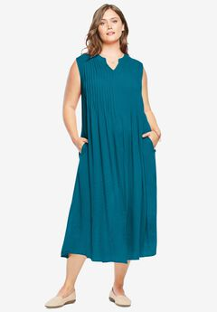 Sleeveless Pintuck Crinkle Dress, DEEP TEAL