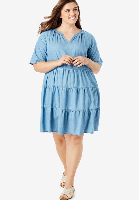 Cotton Tiered Trapeze Dress