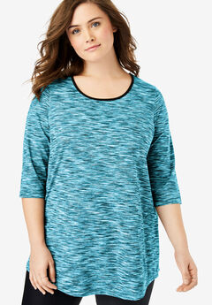Scoop Neck Tunic by fullbeauty SPORT®, CARIBBEAN BLUE SPACE DYE
