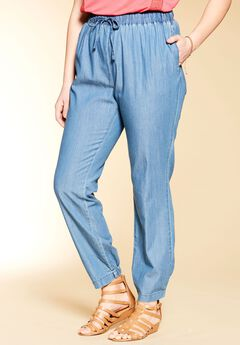 Straight leg jogger pants by Chelsea Studio®, CHAMBRAY, hi-res