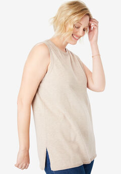 Fine gauge sleeveless crewneck sweater, HEATHER SAND, hi-res