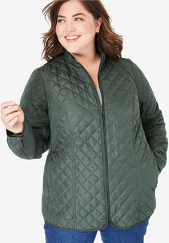Zip-Front Quilted Jacket,