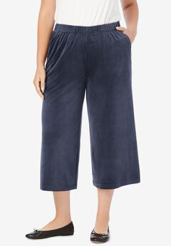 Velour Wide Leg Capri,