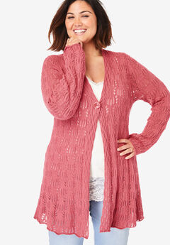 Single Button Pointelle Cardigan,
