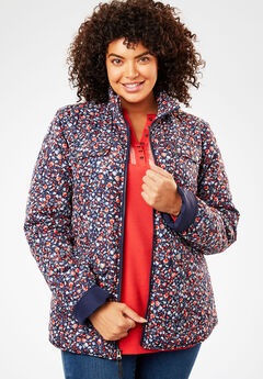 Print-Trimmed Quilted Jacket, NAVY MINI FLORAL, hi-res