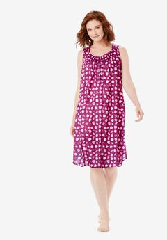 Dreams & Co® Pintuck Cooling Sleeveless Sleepshirt, RICH MAGENTA SHELLS