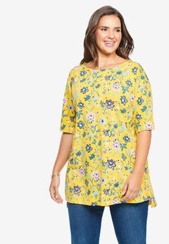 Perfect Printed Boatneck Tunic, PRIMROSE YELLOW FOLK FLORAL