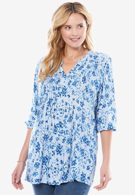 190b232cdd0 Print Pintuck Blouse| Plus Size Shirts & Blouses | Woman Within