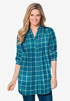 Pintucked Flannel Shirt, DEEP TEAL TONAL PLAID