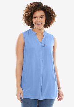 Sleeveless Tab-Front Shirt, FRENCH BLUE, hi-res