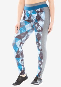 Leggings by FullBeauty SPORT®, BLUE TRIANGLE FLORAL, hi-res
