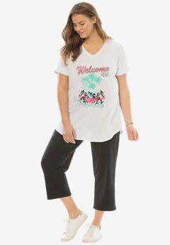 Knit capri pants set, WELCOME TO PARADISE, hi-res